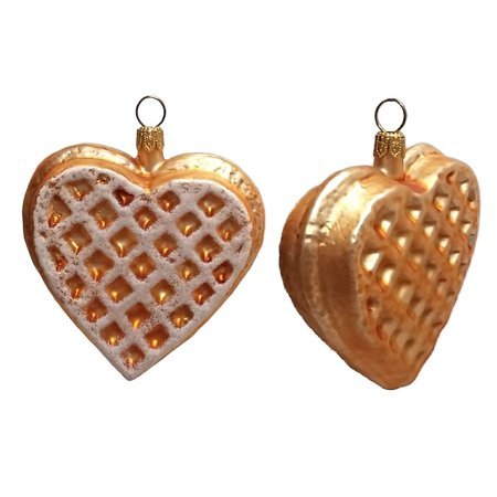 Heart Shaped Waffle Polish Glass Christmas Ornament Set of 2 Decorations - Heart Shaped Ornaments