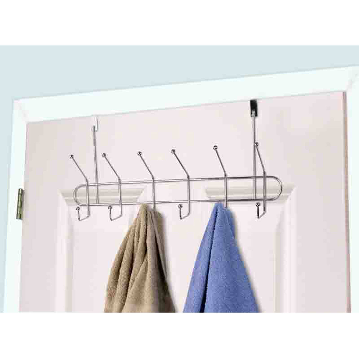 Home Basics Chrome-Plated Steel 6-Hook Over-the-Door Hanging Rack