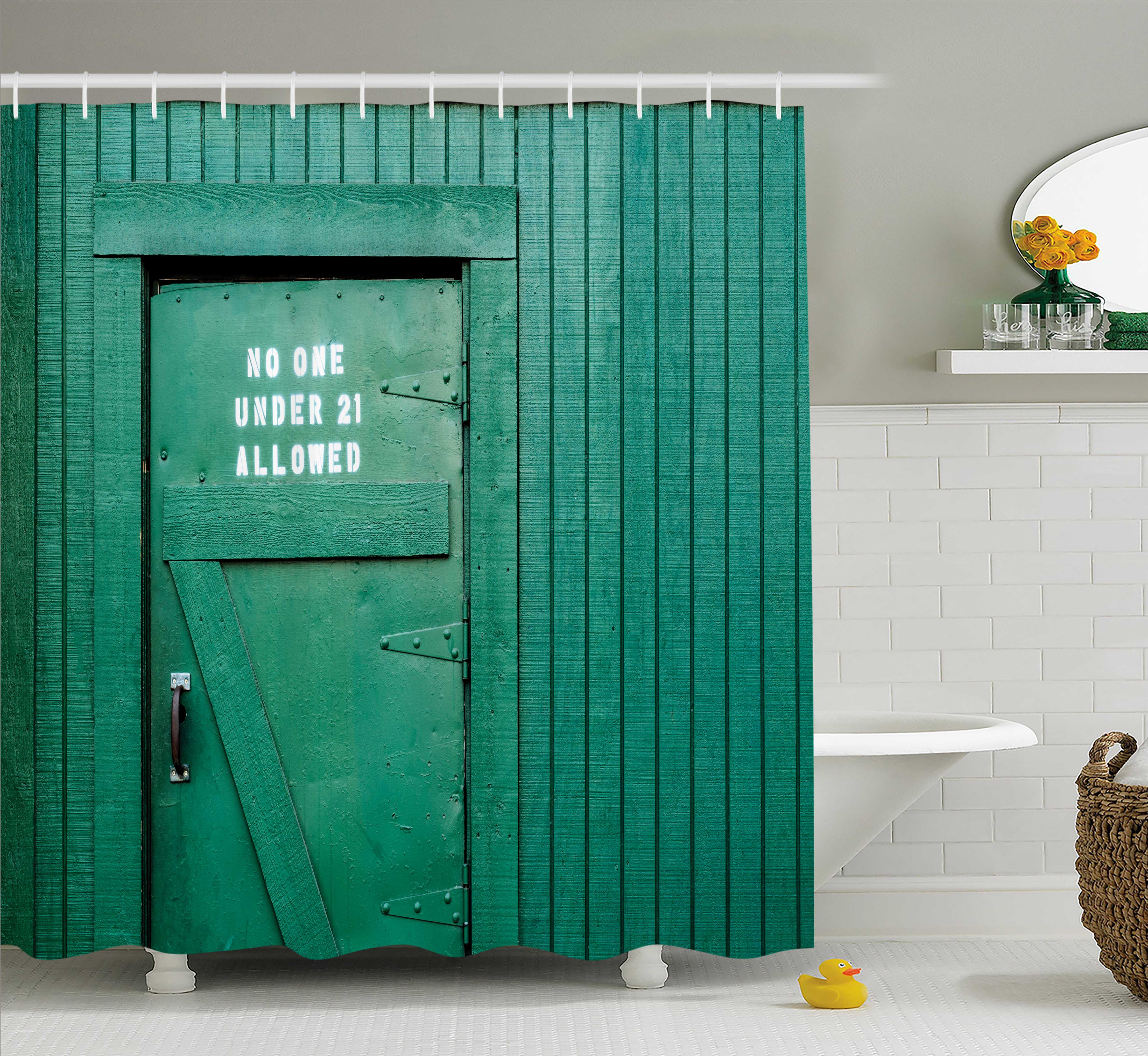 Farm House Decor Shower Curtain, Monochrome Vintage Local Iris Pub Rustic Door with Warning Phrase Culture Photo, Fabric Bathroom Set with Hooks, 69W X 70L Inches, Teal, by Ambesonne