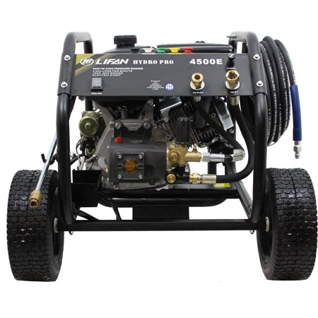 New Design Electric/Recoil Start Lifan Hydro Pro Series 4500-PSI 4 GPM AR Premium RRV Tri-Plex Pump Recoil Gas Engine Pressure Washer with Panel Mounted Controls