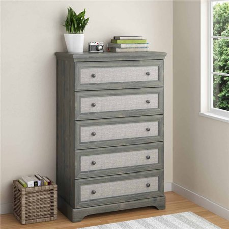 Ameriwood Home Stone River 5 Drawer Dresser With Fabric Inserts  Rustic Oak