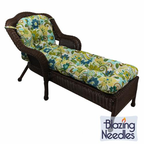 Blazing Needles 69x21-inch U-shaped Outdoor Tufted Chaise Lounge Cushion Luxury Citron (REO-36)