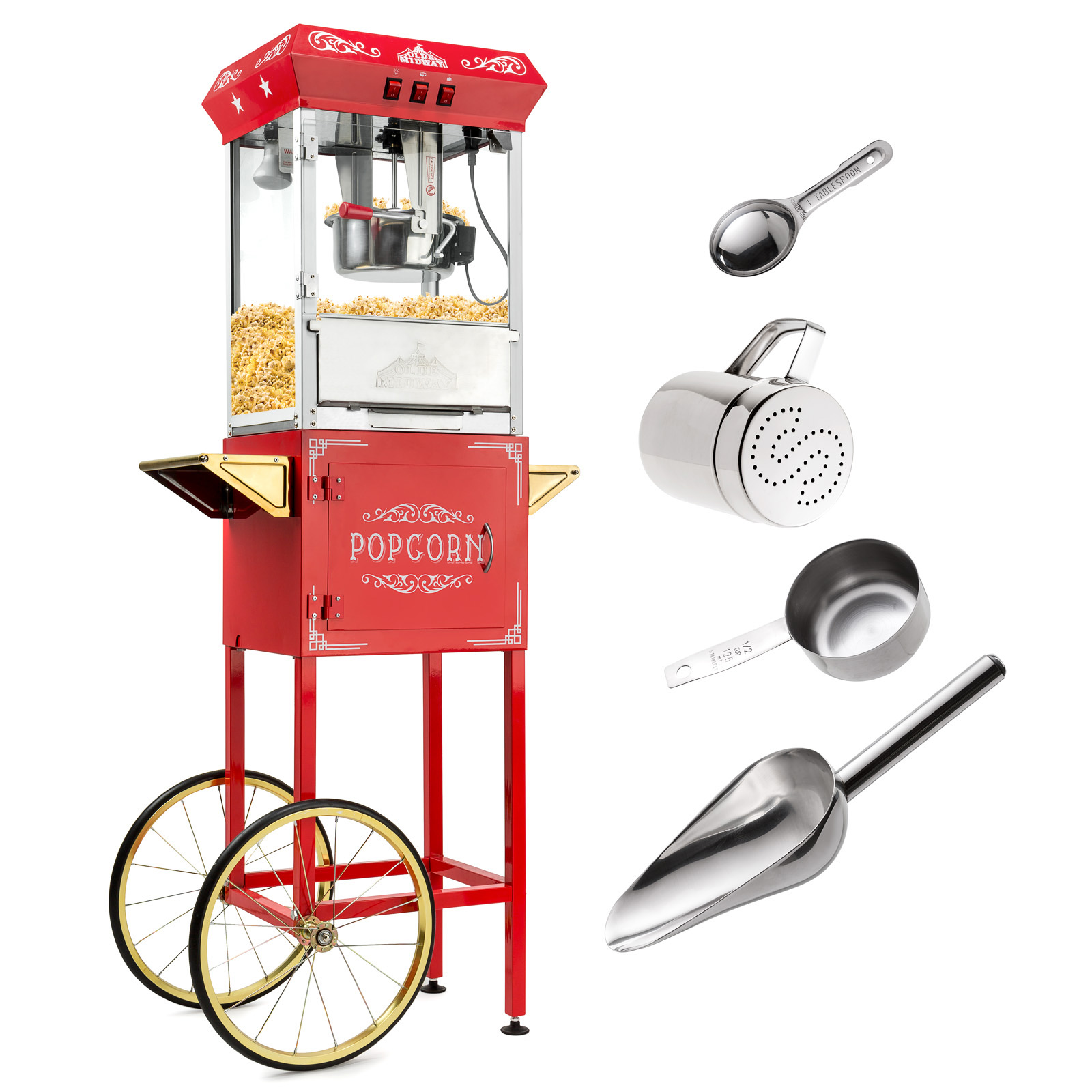 Olde Midway Vintage Style Popcorn Machine Maker Popper with Large 8-Ounce Kettle