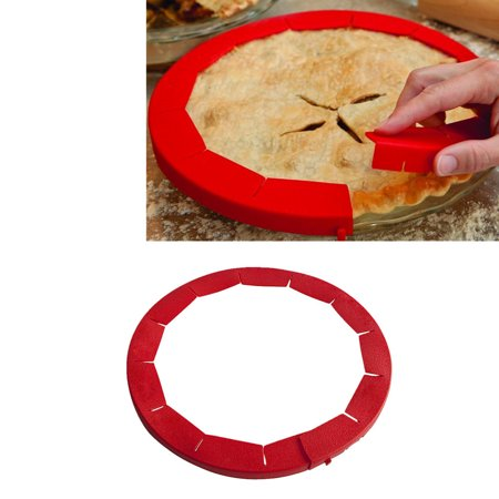 Outtop Adjustable Silicone Pie Crust Shield Silicone Fit 8.5Inch - 11.5Inch Rimmed Dish