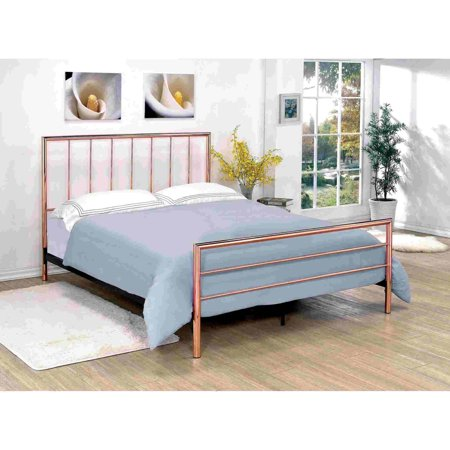 Furniture of America Daniele Contemporary Slatted Design Rose Gold Metal Bed, Multiple - Contemporary Metal Furniture