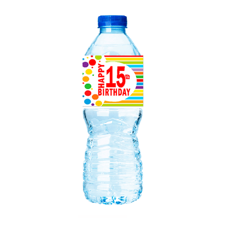 CakeSupplyShop Item#015RWB Happy 15th Birthday Rainbow Water Bottle Labels -15ct