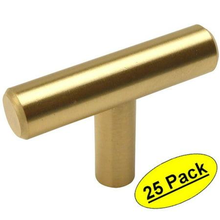Cosmas 305BB Brushed Brass Cabinet Hardware Euro Style T Bar Knob - 2