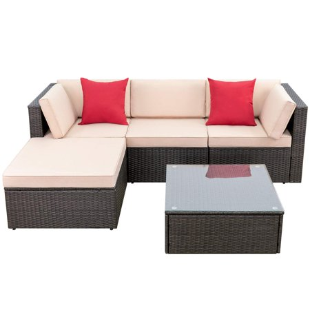 Walnew 5 Pieces Patio Furniture Sets All-Weather Outdoor Sectional Sofa Manual Weaving Wicker Rattan Patio Conversation Set with Cushion and Glass Table (Brown) ()