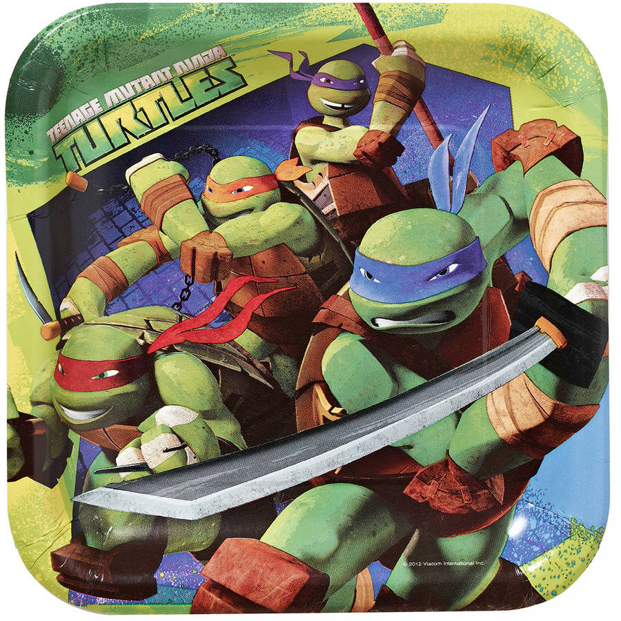 "Teenage Mutant Ninja Turtles 9"" Square Plates, 8 Count, Party Supplies"