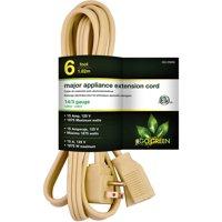 (2 Pack) GoGreen Power 14/3 6' Appliance Cord, Beige, 25606