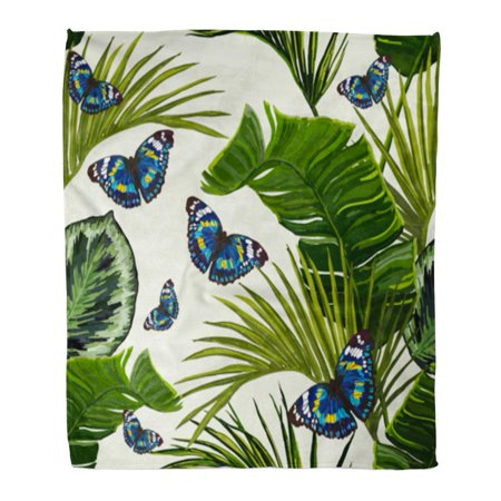 ASHLEIGH Flannel Throw Blanket Green Butterfly Tropical Summer Pattern Butterflies Tree Botanical Brazil Soft for Bed Sofa and Couch 50x60 Inches