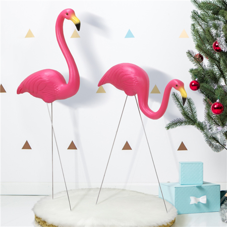 Yaheetech 2PCS Plastic Flamingo Yard Ornamen/Flamingo Lawn Figurine Simulation Garden Party - Plastic Flamingo Yard Ornament