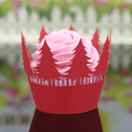 Gobestart 24Pcs Christmas Hollow Lace Cup Muffin Cake Paper Case Wraps Cupcake Wrapper Red ()