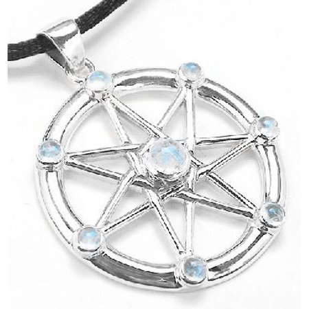 Sterling Silver Elven or Faerie Seven Pointed Star Septagram Pendant Necklace with Rainbow