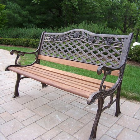 Oakland Living Tea Rose Cast Iron and Wood Bench in Antique Bronze Finish ()
