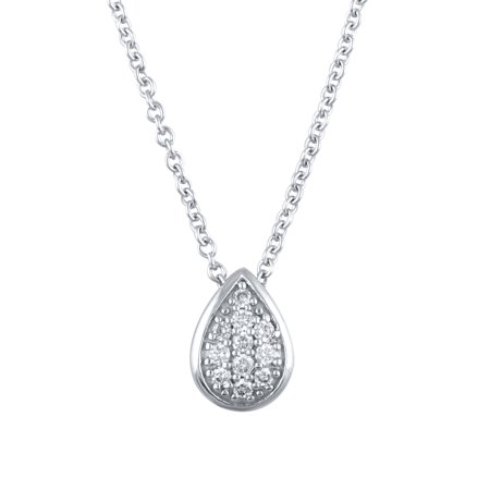 14K White Gold 1/20 Carat Total Weight Genuine Diamond Pear Shape Necklace Pendant with 16+2