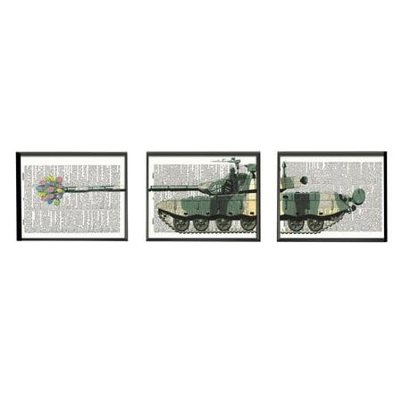 Art N Wordz Flower Tank Surprise 3 Piece Triplicate Original Dictionary Sheet Pop Art Wall Or Desk Art Print Poster