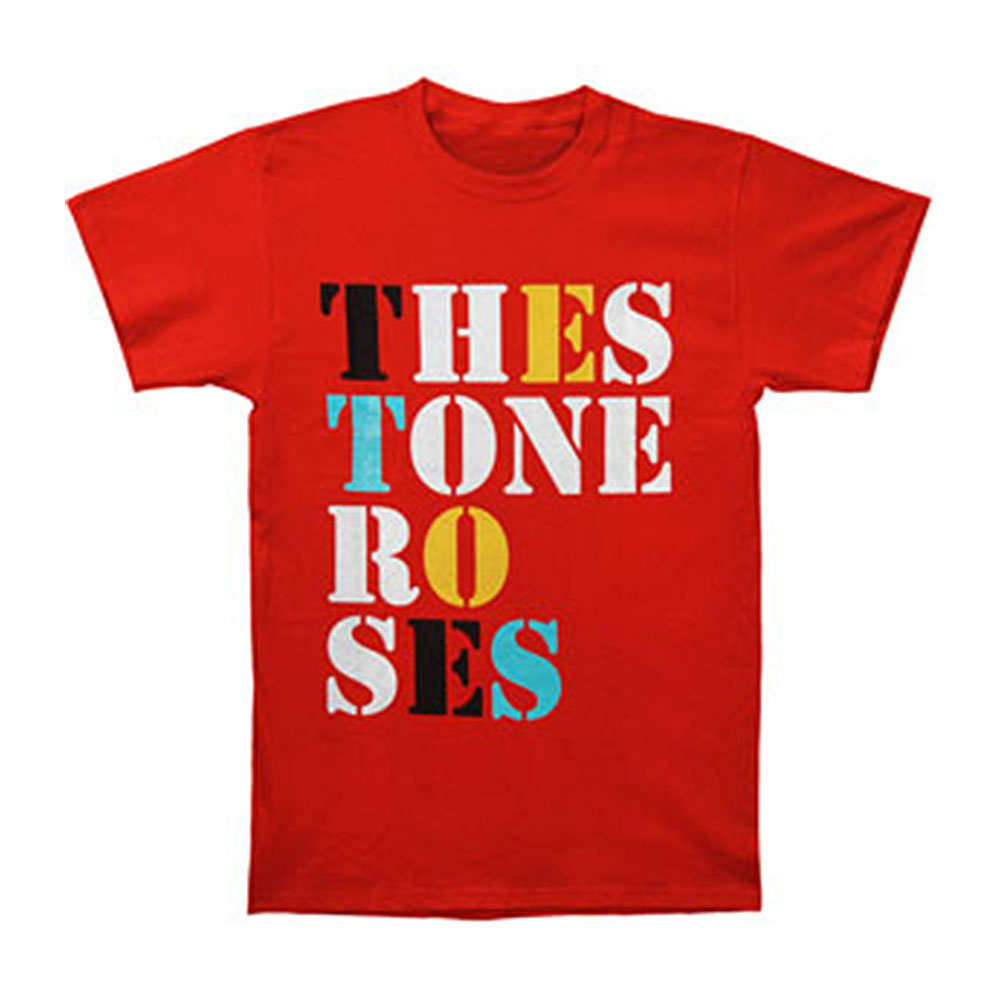 Stone Roses Men's  Font Logo T-shirt Red