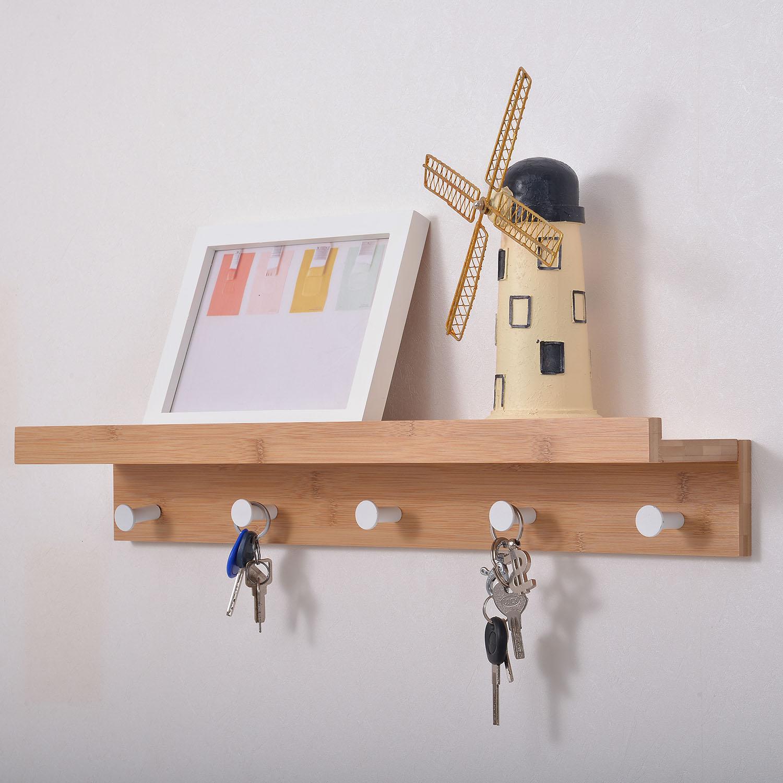 Hallway Wall Mounted Bamboo Shelf Hook Clothes Rack Hanging Mobile Hooks Storage