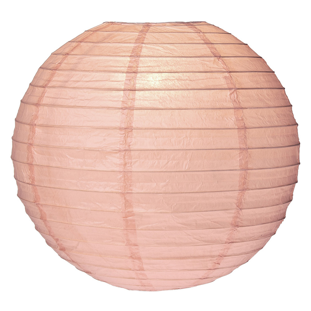 Luna Bazaar Premium Paper Lantern, Lamp Shade (8-Inch, Parallel Style Ribbed, Nude) - Rice Paper Chinese/Japanese Hanging Decoration - For Home Decor, Parties, and Weddings