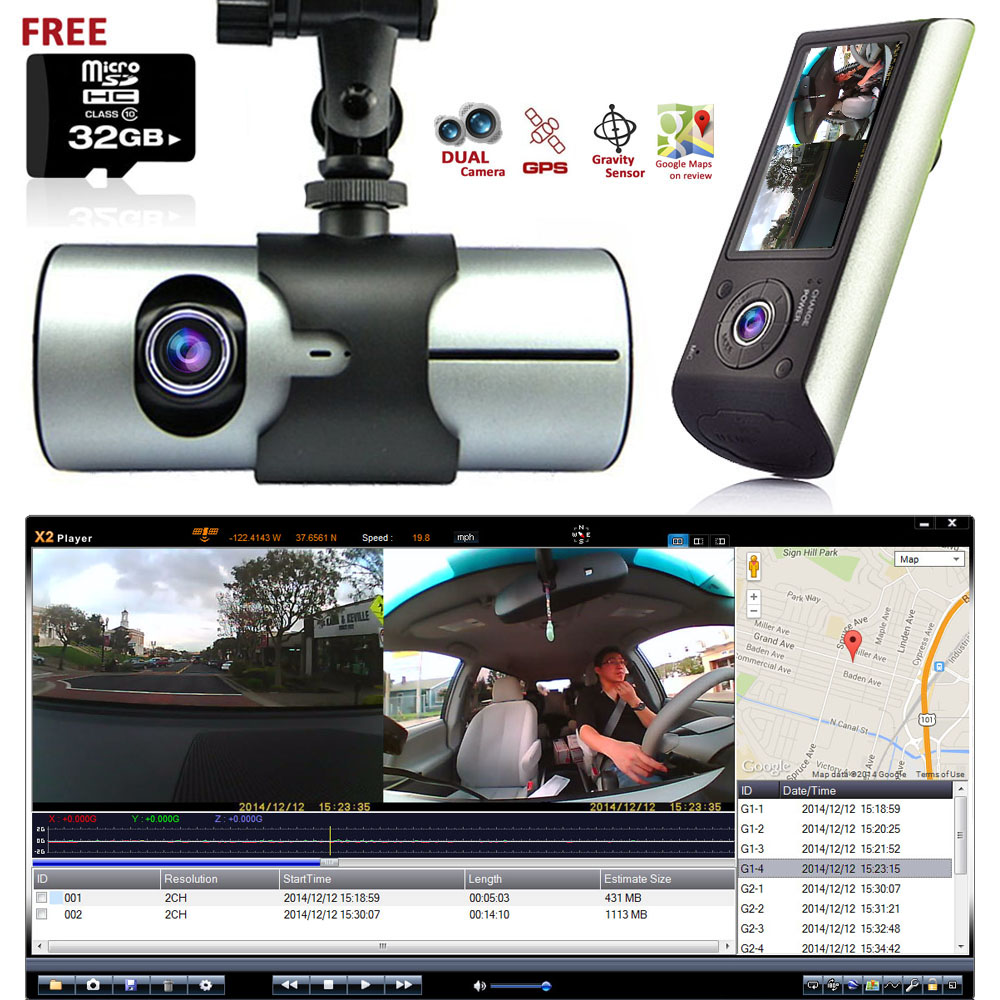 "Indigi XR300 Car DVR DashCam w/ Dual Cameras (Front+Rear) Driving Recorder with 2.7"" LCD w/ 32gb microSD Included"