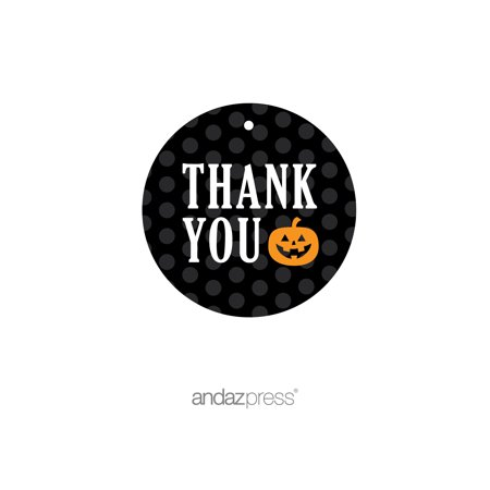 Thank You Orange Black & Orange Halloween Thank You Round Gift Tags, 24-Pack](Tags For Halloween)
