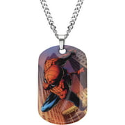 "Marvel Men's Stainless Steel Spider-Man Dog Tag Pendant, 22"" Chain"