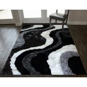 8x10 Black White Shag Shaggy Fuzzy Fluffy Furry Soft Modern Contemporary Decorative Thick Plush Soft Pile Decorative Living Room Bedroom Area Rug Carpet
