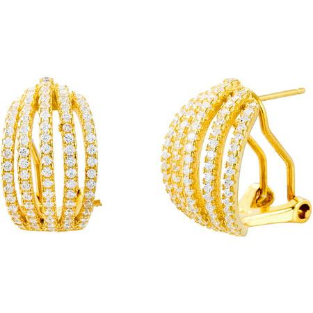 Lesa Michele Multi-Strand Cubic Zirconia Sterling Silver Open Huggie Earrings