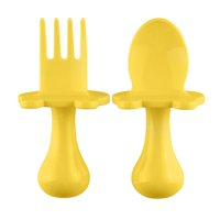 Babyware Made in USA First Self Feeding Spoon Fork Utensil Set for Baby Led Weaning and Toddlers BPA Free (Green)