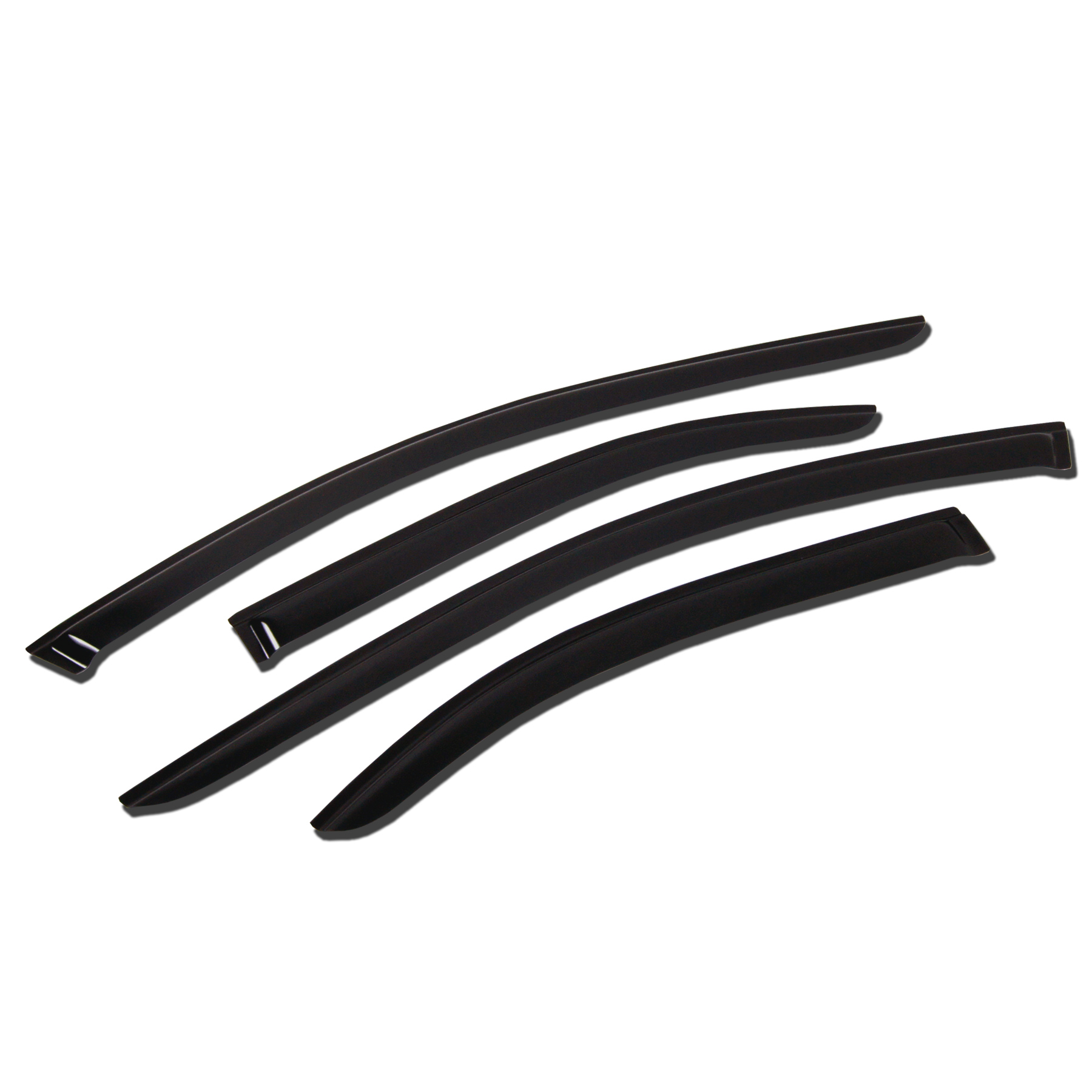 TuningPros WV-154 Window Visor For 1997-2017 Ford Expedition - Outside Mount Deflector Rain Guard Dark Smoke 4 Pcs Set Ford Expedition 97 98 99 00 01 02 03 04 05 06 07 08 09 10 11 12 13 14 15 16 17