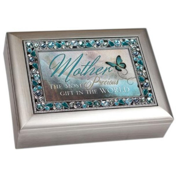 Cottage Garden Mother The Most Precious Gift In The World Brushed Silver Finish Decorative Jewel Lid Musical Music Jewelry Box Plays Wind Beneath My Wings Walmart Com Walmart Com
