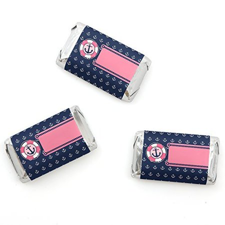 Ahoy - Nautical Girl - Mini Candy Bar Wrappers Baby Shower or Birthday Party Favors - 20 Count