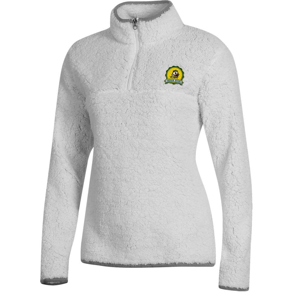 Women's Russell White Oregon Ducks Sherpa Quarter-Zip Pullover Jacket