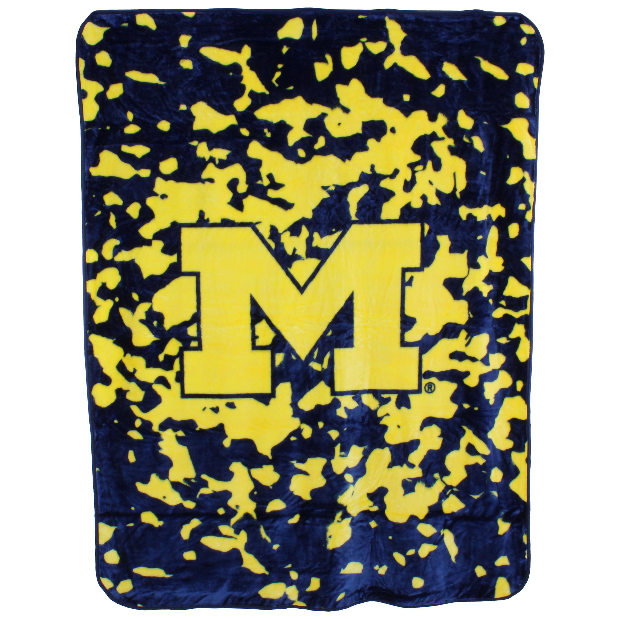 "College Covers Fan Shop Throws Michigan Wolverines 63"" x 86"" Soft Raschel Throw Blanket"