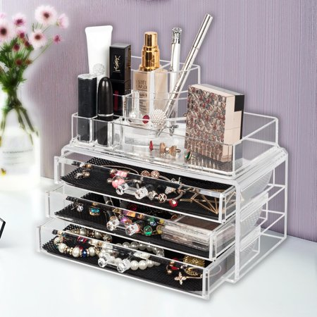 Ktaxon Acrylic Makeup Case Cosmetic Home Organizer Drawers Holder Jewelry Storage Box ()