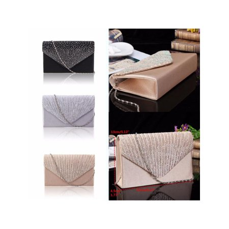 Fashion Women Lady Satin Wallet Clutch Bag Bridal Evening Party Diamante Handbag Purse