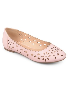 983773f4fddc79 Product Image Women s Faux Leather Wide Width Scalloped Laser-cut Round Toe  Flats