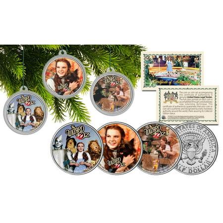 Wizard Of Oz Christmas Colorized Jfk Half Dollar U S  3 Coin Set Tree Ornaments