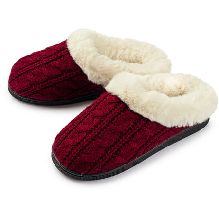 Pupeez Girls Cable Knit Slippers Fleece Lined House Shoe Cable Knit Slipper Boots