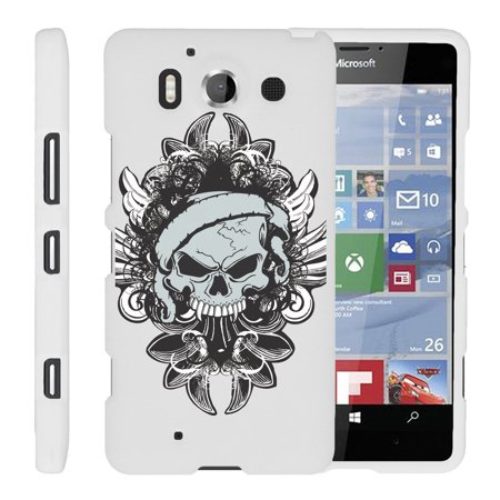 Microsoft Lumia 950   Snap Shell  White  2 Piece Snap On Rubberized Hard White Plastic Cell Phone Case With Exclusive Art    Demon Skull