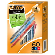 BIC Round Stic Xtra Life Ballpoint Pen, Medium Point (1.0mm), Assorted, 60-Count