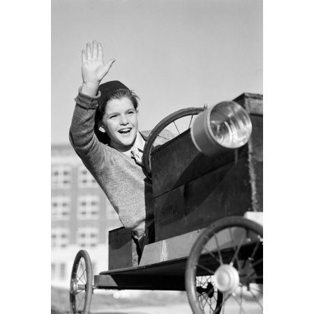 1940s-1930s Boy In Homemade Race Car Go-Cart Smiling And Waving Soapbox Derby Print By Vintage (Collection Derby Cover)