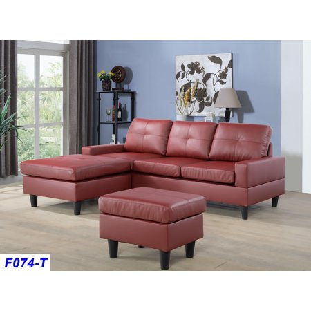 Fine Aycp Furniture Small 3 Seats L Shape Simple Sectional Sofa Couch Set With Ottoman Left And Right Swap Faux Leather Upholstery Material Red Color Caraccident5 Cool Chair Designs And Ideas Caraccident5Info
