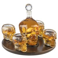 Ebern Designs Kirsten Large Skull Face 6 Piece Decanter Set