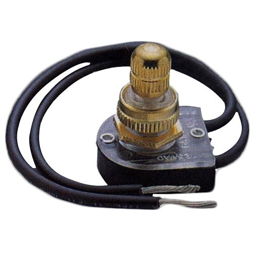 "Rotary Switch SPST Brass Button On-Off with 6"" Leads"