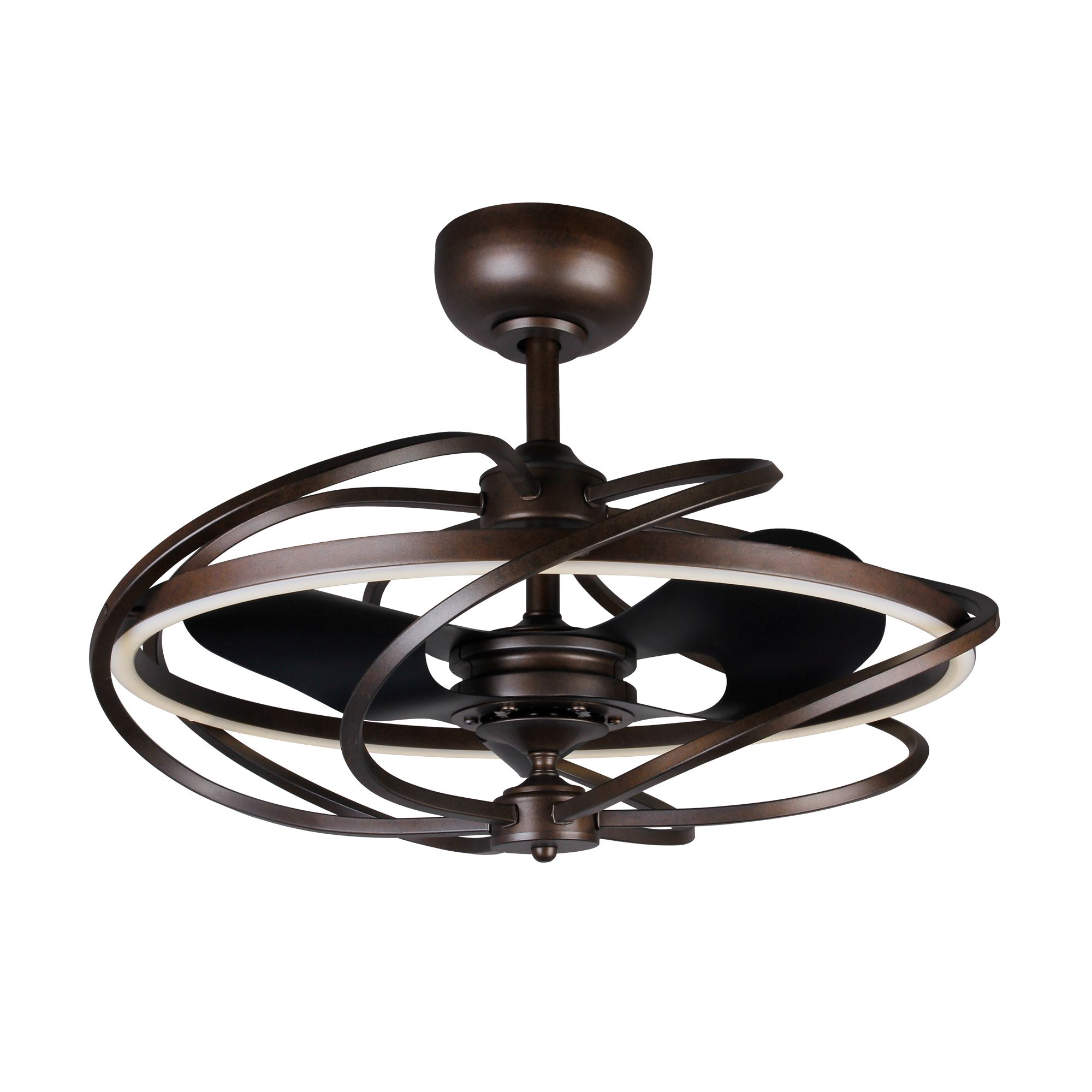 """27"""" LED Ceiling Fan with Remote Control, Black"""
