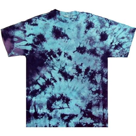 Tie Dyed Shop Mens Blue Purple Crinkle Tie-Dye Short Sleeve T-Shirt Small Crinkle Short Sleeve Shorts