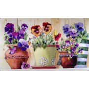 Custom Printed Rugs Potted Pansies Doormat