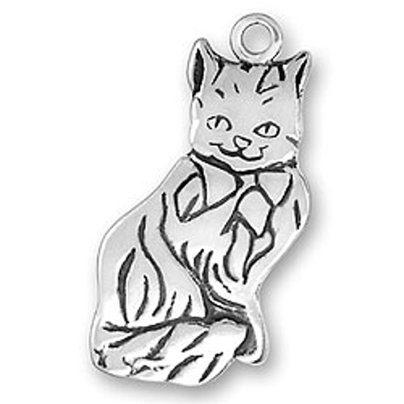 Sterling Silver Womens 1mm Box Chain Large Flat Feline Cat Smiling Pendant Necklace